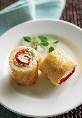 Turkey Spirals - This Mediterranean-inspired appetizer features lean Ontario turkey scaloppine rolled into a spiral and filled with creamy goat cheese, savoury red pepper and grated Parmesan.