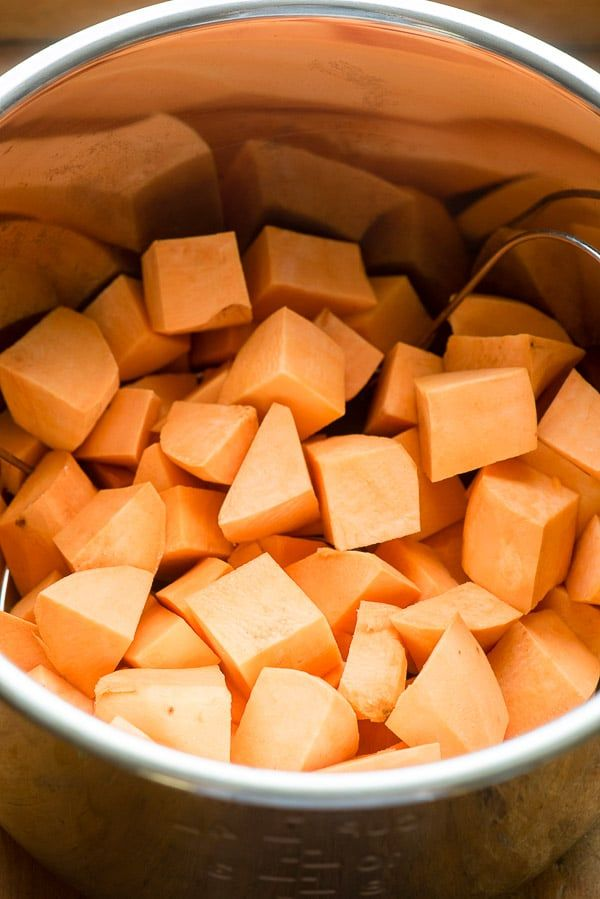Cubed Sweet Potatoes In Instant Pot Insert For Instant Pot Mashed
