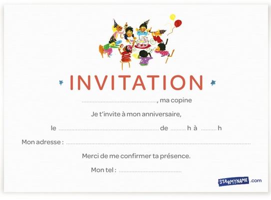 Carte d'invitation anniversaire à imprimer gratuitement/ Birthday card to print   Invitation ...