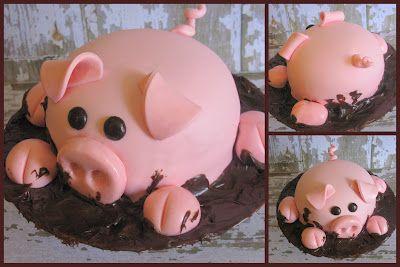 Pig Cake: County Fair Birthday Cakes, Mud Cakes, Piggy Cakes, Pigs Cakes Idea, Cute Idea, How To Make Birthday Cakes, Baking, Birthday Cakes With Pigs, Pigs Birthday Party