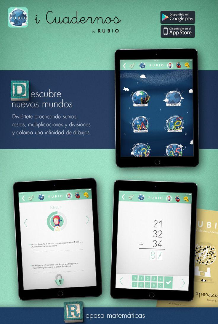 Descubre nuevos mundos y aprender matemáticas con la aplicación infantil para niños iCuadernos by RUBIO. www.icuadernos.com