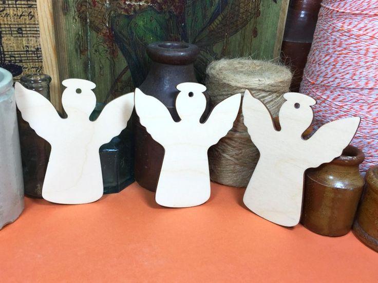 Wooden Angels 10cm x 3 - Wood Angel Shapes