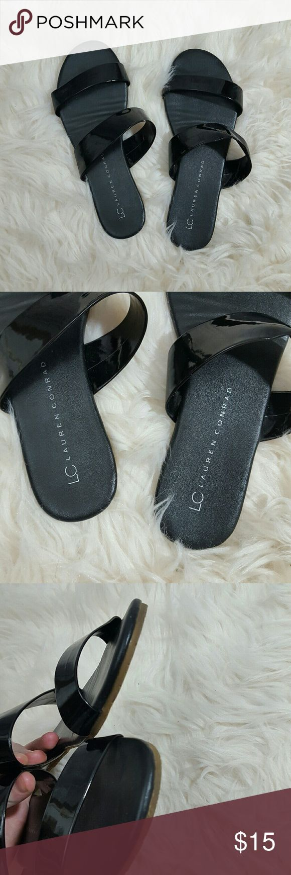 Lauren Conrad Black Open Toe Sandals Spring Summer Preloved; in overall great condition! Minor scuffs on toe bed. Lauren Conrad  Shoes Sandals