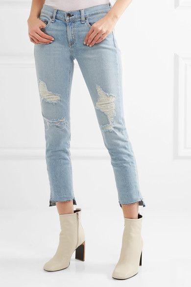 rag & bone - Capri Distressed Low-rise Skinny Jeans - Light denim - 29