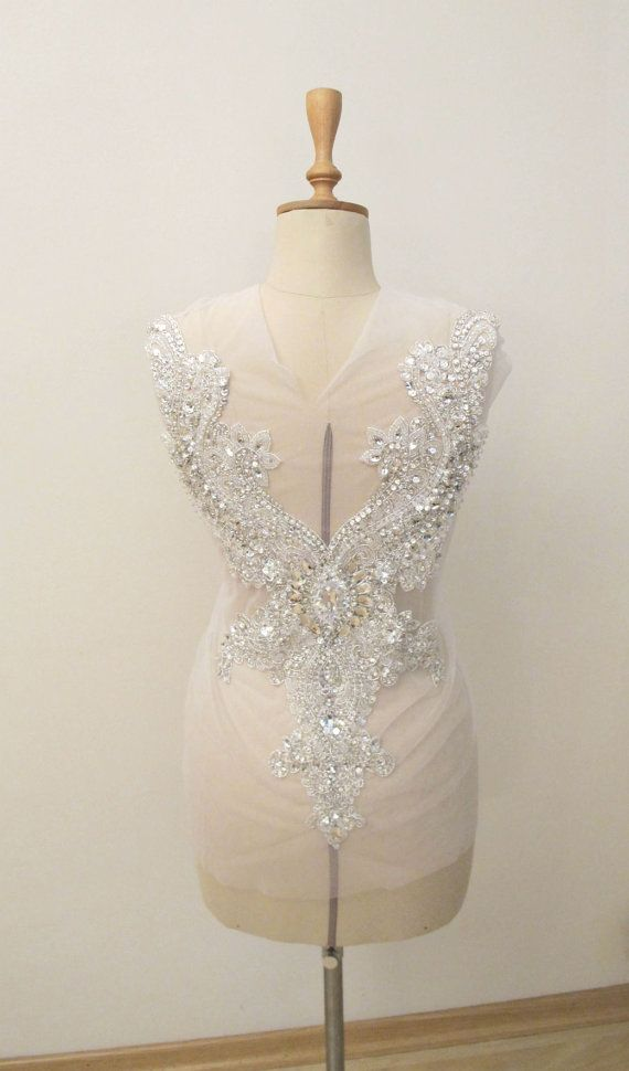 Rhinestone Applique for Open Back Wedding Gown by gebridal, $220.00