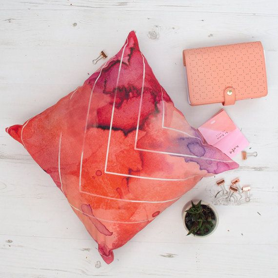 Liven up your home with this beautiful watercolour print cushion cover. Hand made from natural linen fabric.