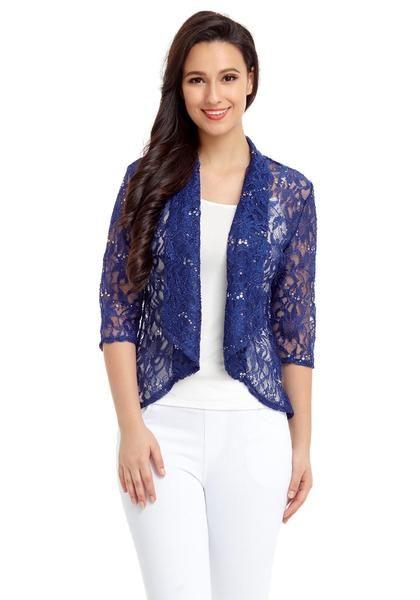 Royal blue floral lace sequins sheer cardigan   Shop $22.00   ♦F&I♦