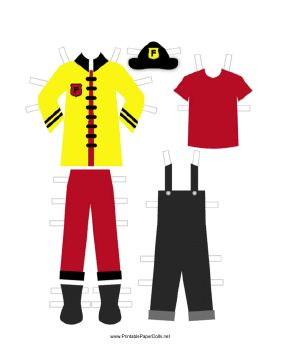 This paper doll printable includes a complete red and yellow fireman outfit. Free to download and print