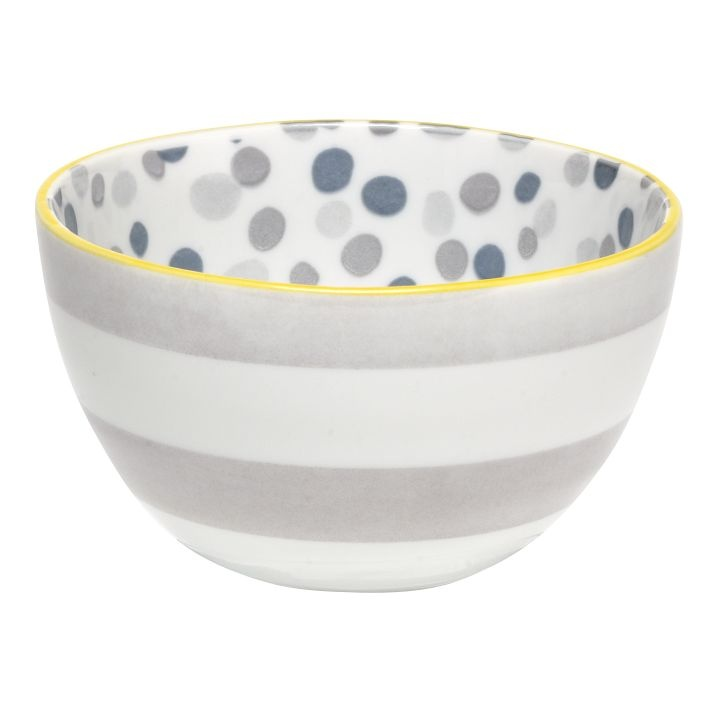 dots + stripes bowl, gray