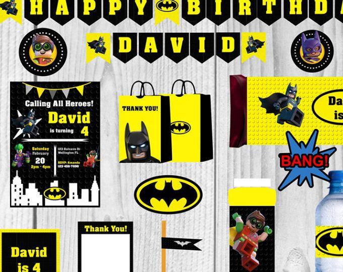 Fiesta de cumpleaños de Batman, cumpleaños de Lego Batman, Batman Banner, invitación de Batman, fiesta de Batman, Batman película cumpleaños, decoración fiesta Batman