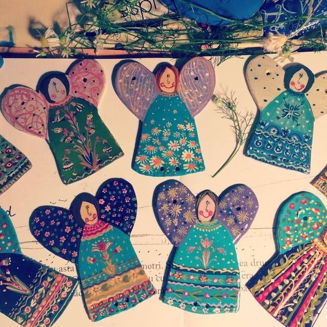 handmade. handpainted  ceramic angels