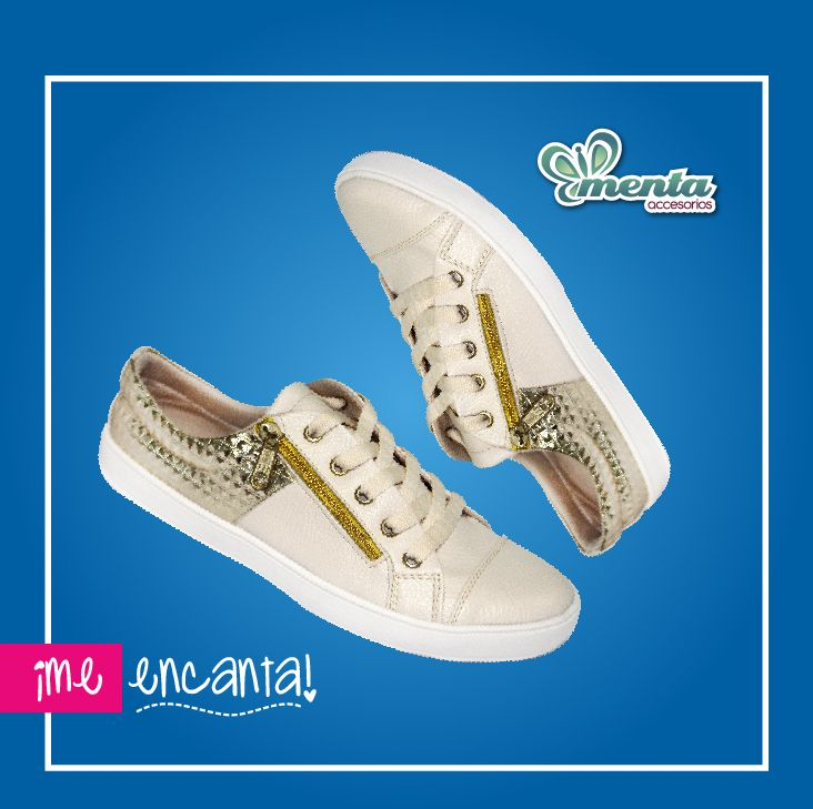 El mejor complemento para el look de fin de semana, mas fashionista, eres ++++menta. #shoes #tenis #beige #zapatillas #dorado #mentaaccesorios