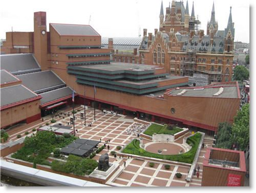 This is the British Library (the fancy building in the back is a train station). Becca and I had a quick lunch in this courtyard and ducked into the library for an extremely brief visit. It was like going into a chocolate shop and only getting to smell before being dragged away.