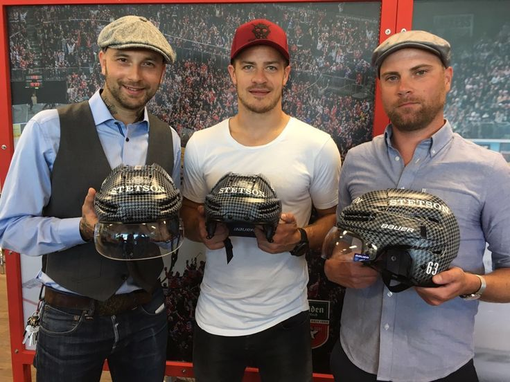 Helmet Design 2016/17  This design was the first of its kind for the Kölner Haie team. Inspired by a classic herringbone pattern that can be found on many Stetson caps like the Hatteras style. Here the helmet is being presented to the press with Dominic Kirgus, the winner of the design contest for the helmet, Moritz Müller (middle) the from the Kölner Haie and Bronski from Stetson.