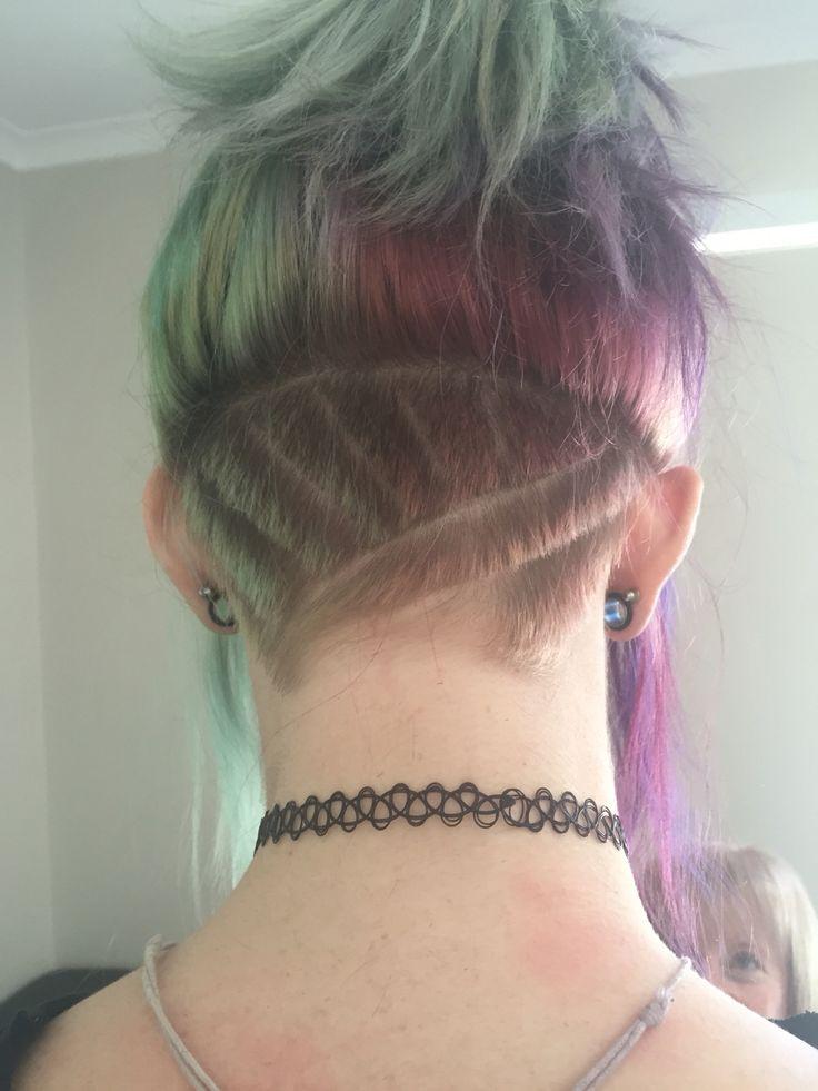 Undercut. Patterned hair. Rainbow hair. #ultimatehairandbeauty Australia.