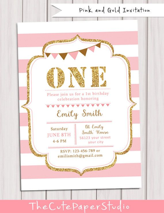 1st Birthday Invitation girl Pink and Gold by TheCutePaperStudio