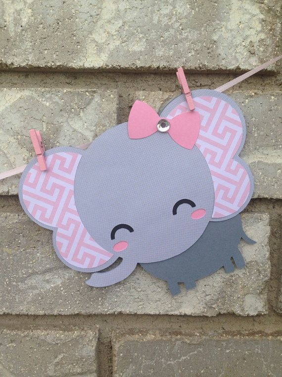 Baby Elephant Banner with Onesies Pink and Grey Baby by Hdoodle