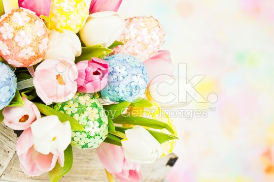 Tulip Bouquet with Easter Eggs royalty-free stock photo