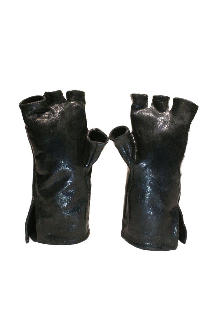 Black vinyl gloves long - Black Latex Gloves1