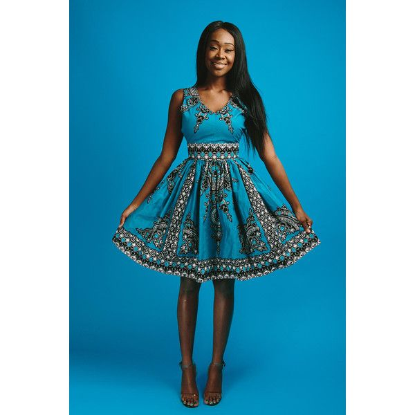 Mimi Dress (Blue) ($119) ❤ liked on Polyvore featuring dresses, pants, teal, women's clothing, short african dresses, teal blue dresses, blue v neck dress, teal dress and blue dress
