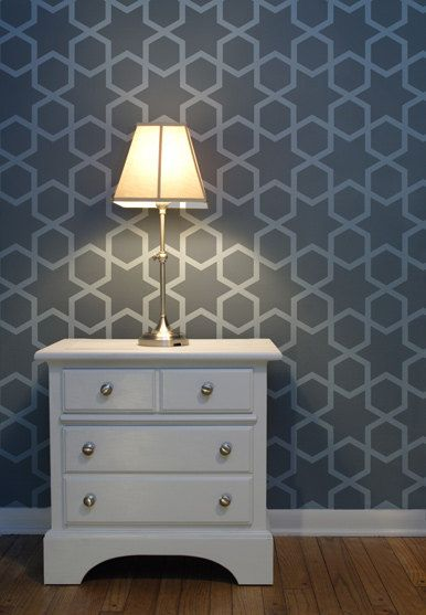Diamond Hive Moroccan Wall Stencil for DIY project, Wallpaper look and easy Decor