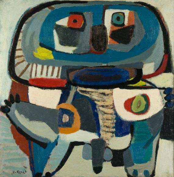 Karel Appel - De vierkante man,1951, oil on canvas
