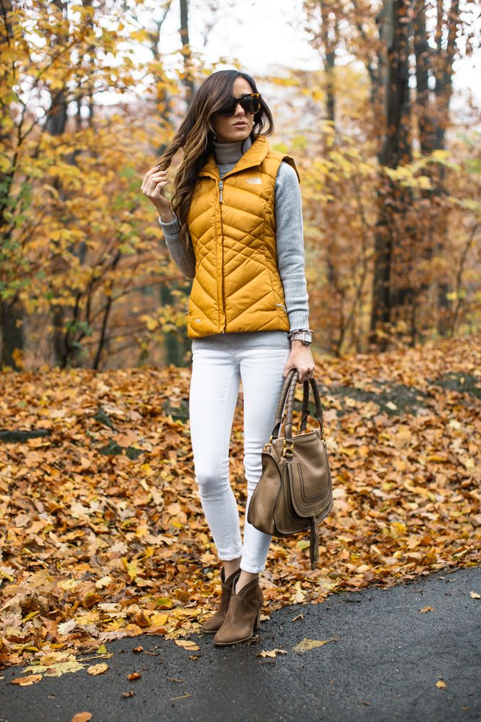 Down vest white denim, cognac booties and grey sweater; fall style, fall outfit,