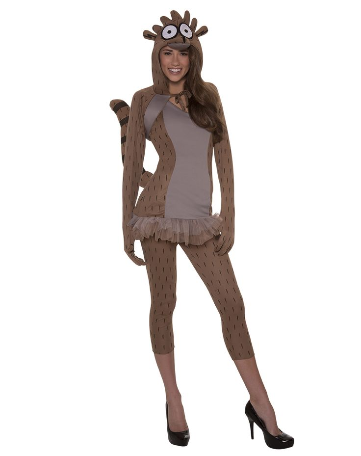 Regular Show Rigby Adult Women's Costume exclusively at Spirit Halloween - Wild out on Halloween with Mordecai and Skips when you wear this officially licensed Regular Show Rigby Adult Women's Costume. Includes brown fur print character dress with tutu hemline, attached tail, matching hooded character shrug and leggings. Make it yours for $39.99.