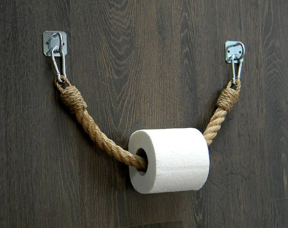 Toilet Paper Rope Holder..Towel Holder..Industrial decor..Toilet Roll Holder..Jute Rope Nautical Dec