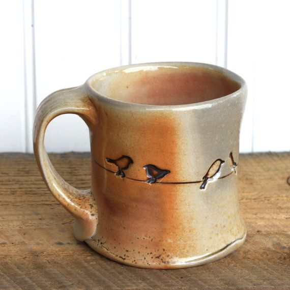 mug for coffee or tea 12 oz – black bird design - wood-fired pottery - put a bird on it by TwoPotters.