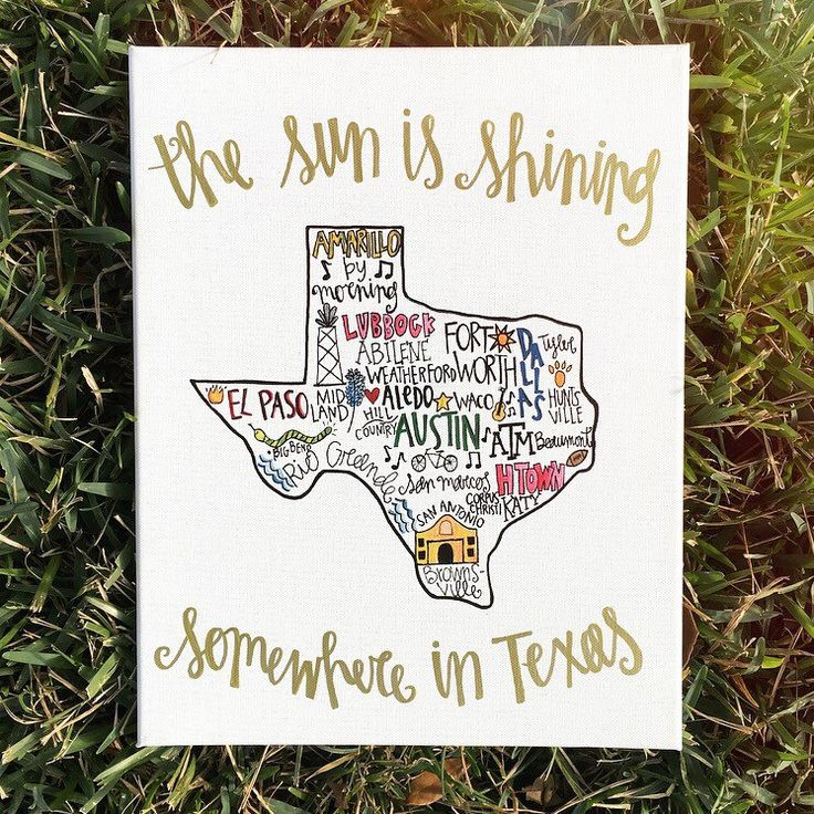 The Sun Is Shining Somewhere In Texas Wall Decor Hand Painted Texas Canvas