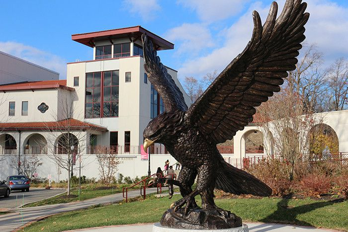 Red Hawk statue on the  campus of Montclair State University