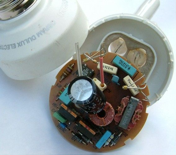 Electronic ballast of a compact fluorescent lamp.