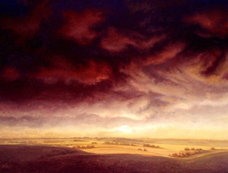 """Tawnenfire"" by Jerry Moon Fine Art-Oil-Landscape-Painting-Kansas City, Missouri-Midwest-Sky-Clouds-Sunset-Dark-Orange-Yellow-Dramatic-Storm-Flint Hills"