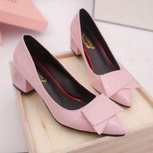 2017 Nouvelle Mode Haute Talons dames Pompes Sexy Mariée Femmes PU Chaussures En Cuir Talon Carré Bout Pointu Chaussures De Soirée Rose femmes(China (Mainland))