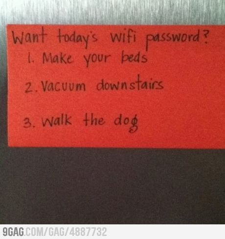 Well played mom, well played....I'm so doing this when the boys are older!: Remember This, Good Ideas, Stuff, Funny, Wifi Password, Kids, Kiddo, Mom, Parenting