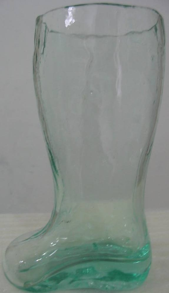 Boot beer glass from recycled glass.