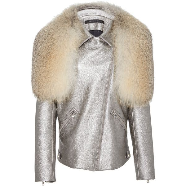Sally LaPointe     Metallic Leather Moto Jacket with Fox Fur Stole ($6,800) ❤ liked on Polyvore featuring outerwear, jackets, moto jacket, zipper leather jacket, leather moto jacket, motorcycle jacket and white moto jacket