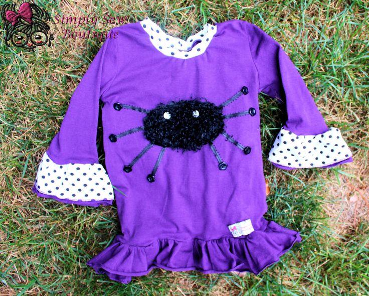 Girls Toddler Fuzzy Spider Knit Halloween Tee 12m-8 By