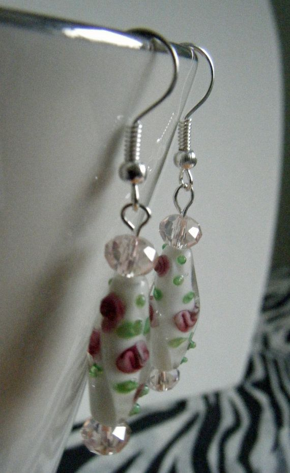 Lovely romantic earrings added to the Undercover Zebra shop on Etsy https://www.etsy.com/listing/184535359/romantic-present-earrings-white-and-pink