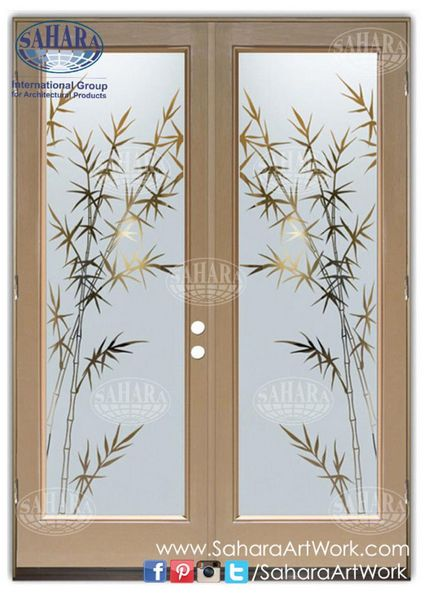 Swing door made from frosted glass and clear floral design