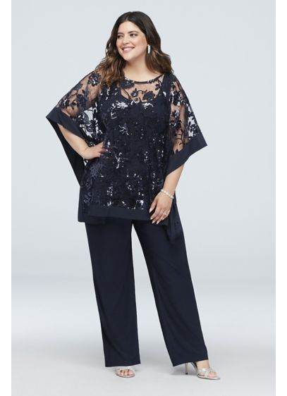 4677826d900 Sequin Lace Plus Size Pantsuit with Sheer Poncho 2288W