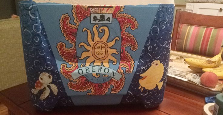 Oberon beer cooler design. Finding nemo characters cooler design. Sanded, primed, hand painted with acrylics and sealed.