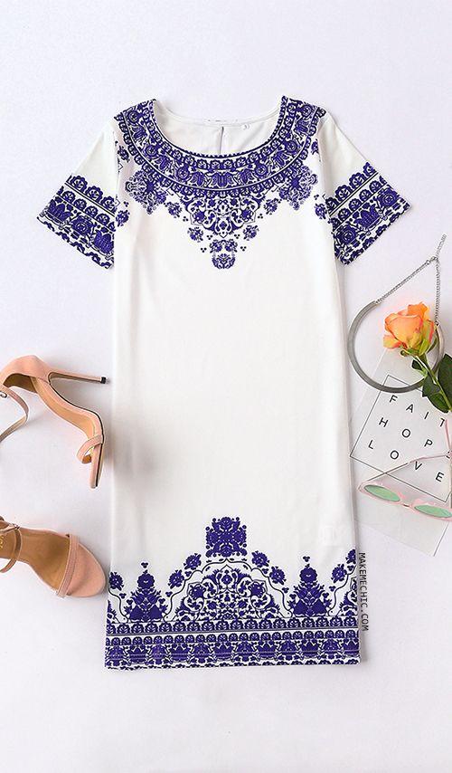Short Sleeve Vintage Print Dress