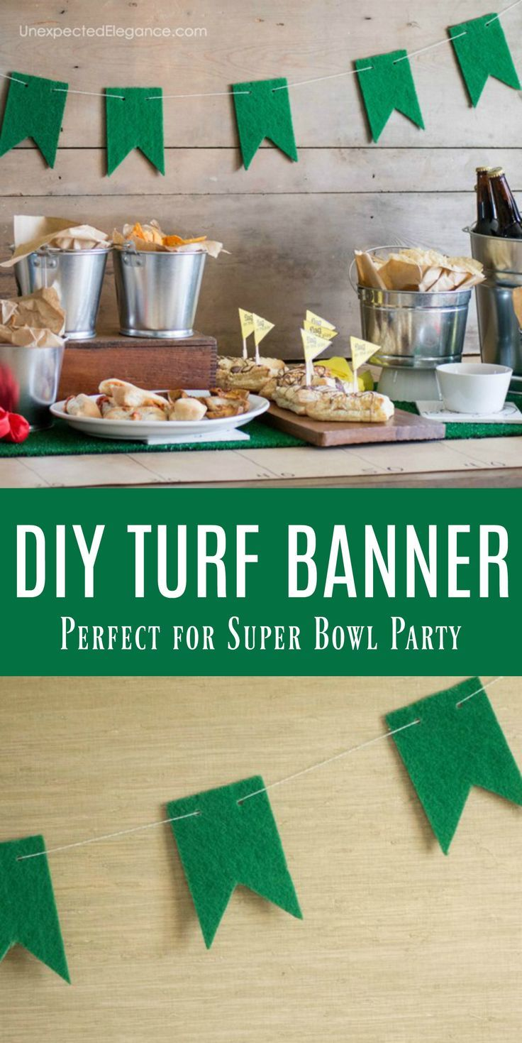 Easy Super Bowl Party Decor 5 Minute Turf Banner Superbowl Party Easy Super Bowl Super Bowl Decorations
