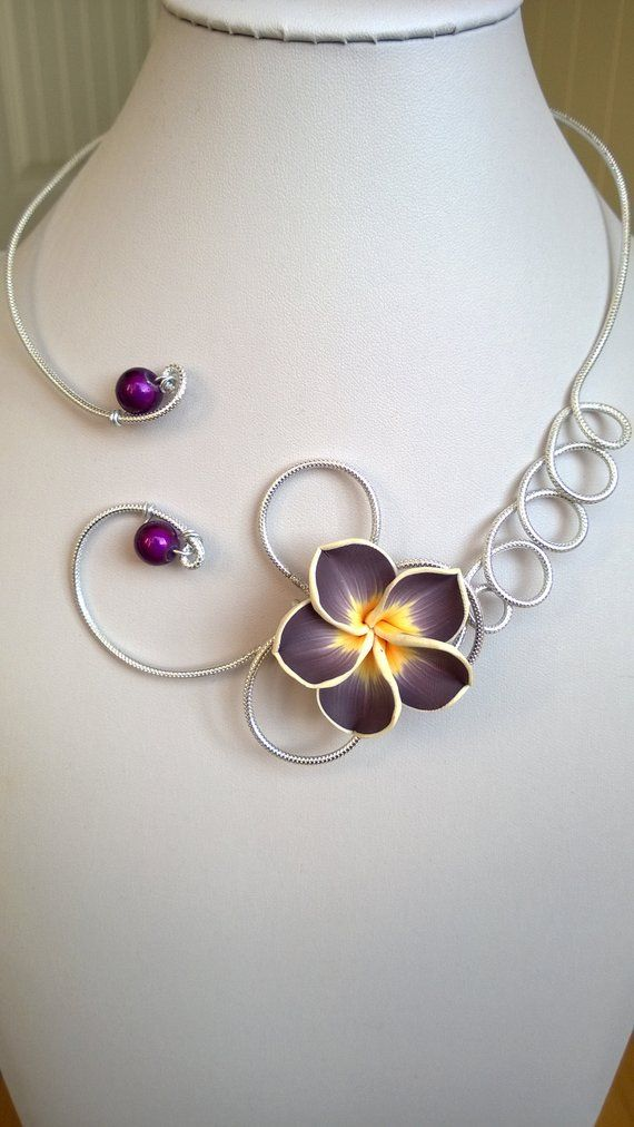 Open Collar Necklace Eggplant Jewelry Eggplant Necklace Flower