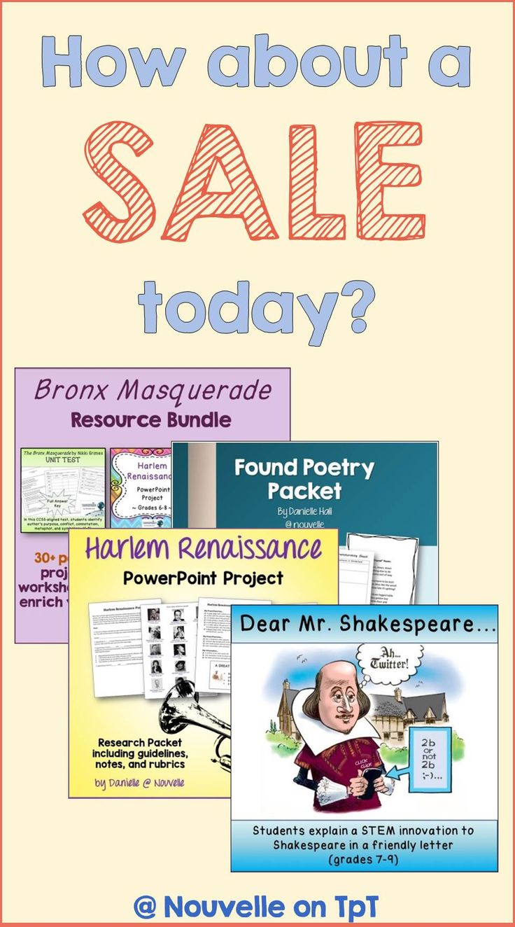 Celebrate Spring with this one day sale (4/6)! 20% off items related to National Poetry Month, Shakespeare, and much much more. Featured here: Found Poetry, Bronx Masquerade, Harlem Renaissance, and Shakespeare.