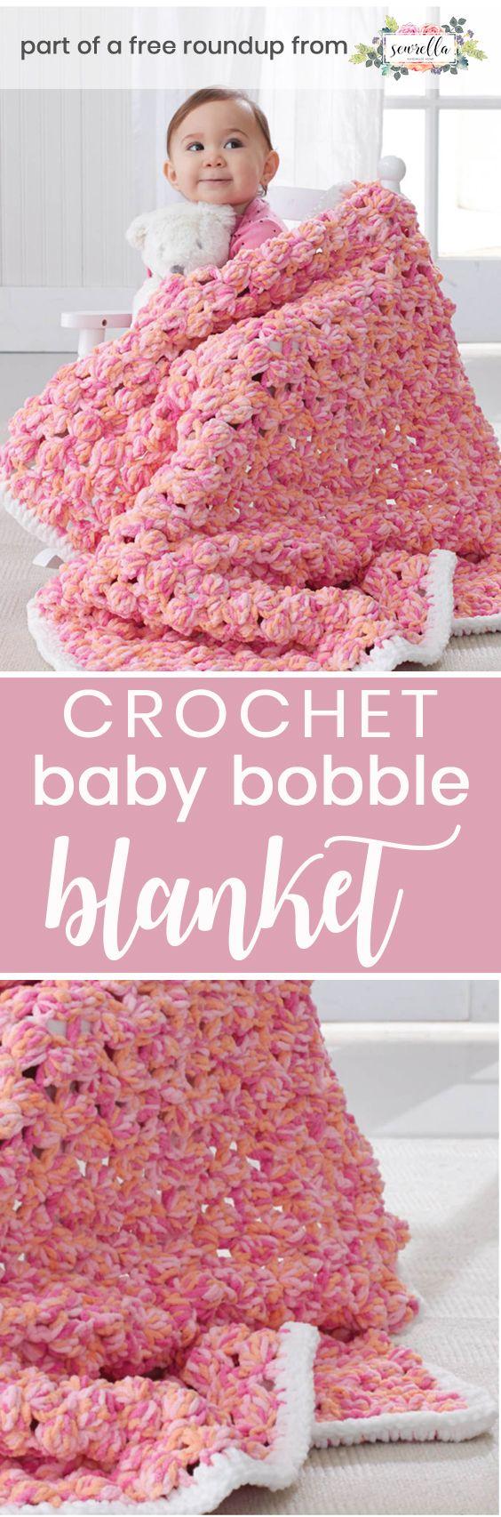 Crochet this easy beginner bobble baby blanket from Bernat from my best free crochet baby blankets for girls roundup!