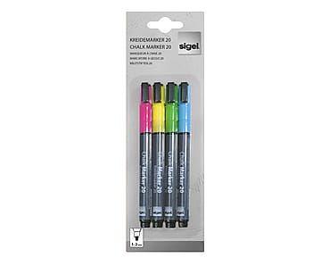 Set di 4 marcatori a gesso con punta tonda multicolor, 1-2 mm