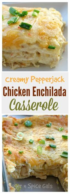 creamy pepperjack enchilada casserole. Can be GF if corn tortillas are used.